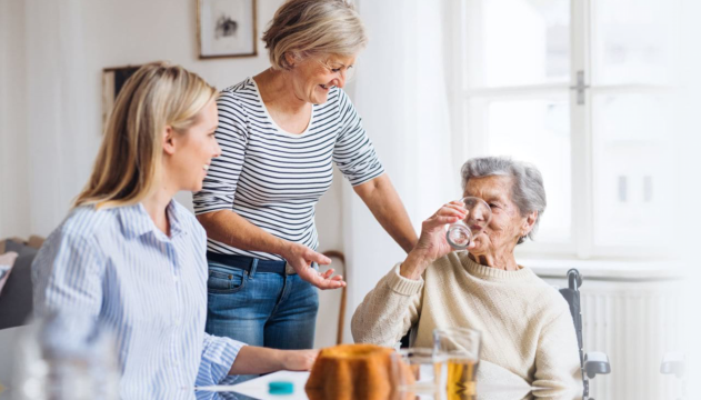 elderly with caregivers